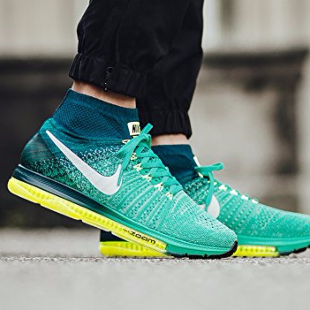 0f26a67a70b6 Nike Men s Zoom All Out Flyknit Running Shoe Clear Jade White-mid  Turquoise-volt US7