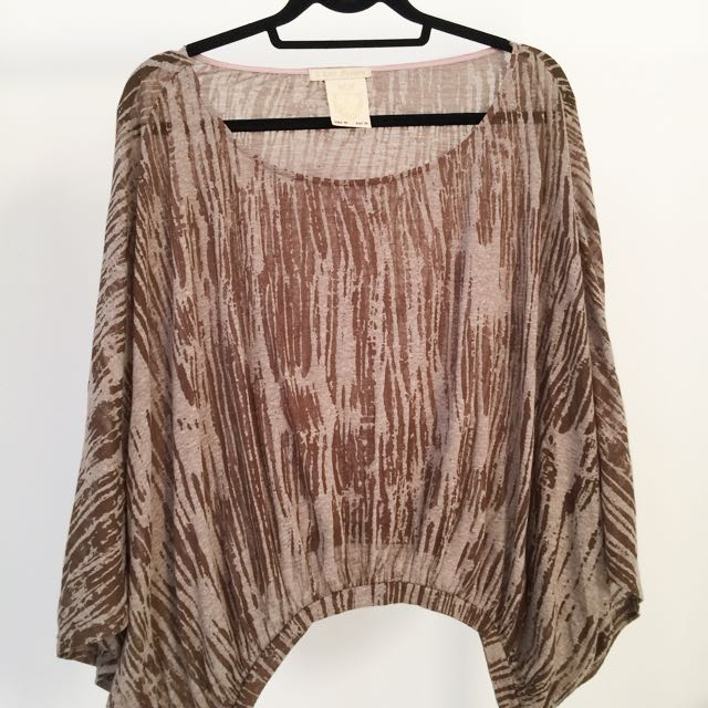 Off Shoulder F.FASHION Brown Top (See-Through) Size M (AU 8-10)