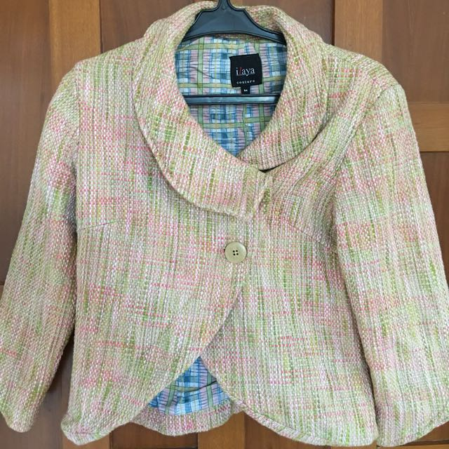 Pink & Green tweed blazer