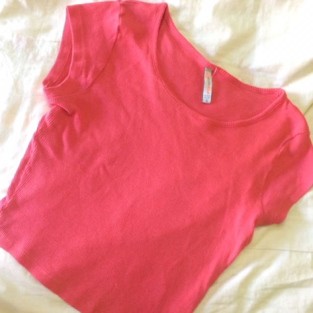 Pink Ribbed Crop Top
