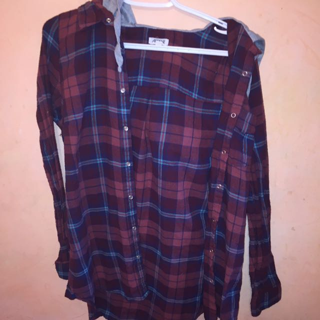Plaid long sleeve with grey hoodie