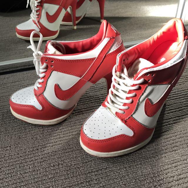 Red/white Nike heels