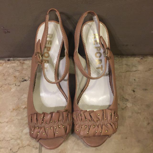 REPORT blush leather heels