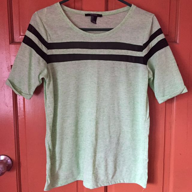 REPRICED Apple Green F21 Mesh Design Shirt