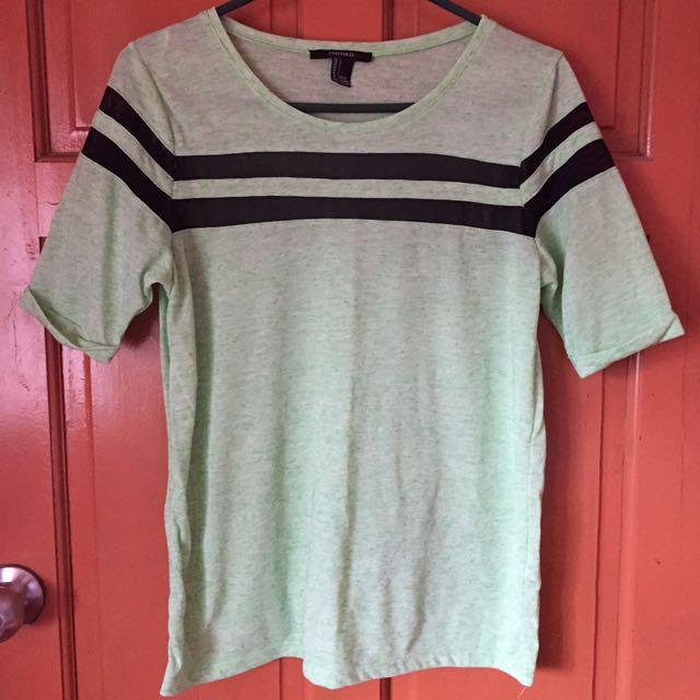 REPRICED Apple Green F21 Mesh Design Shirt