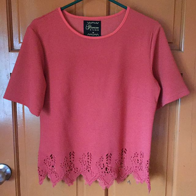 REPRICED Pink Origamit Cut Top