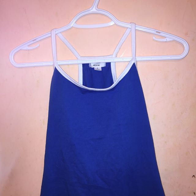 Royal blue and white tank top