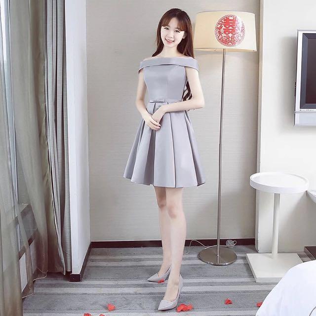 febba6f48d63 Silver Grey Bridesmaid Off Shoulder Dress
