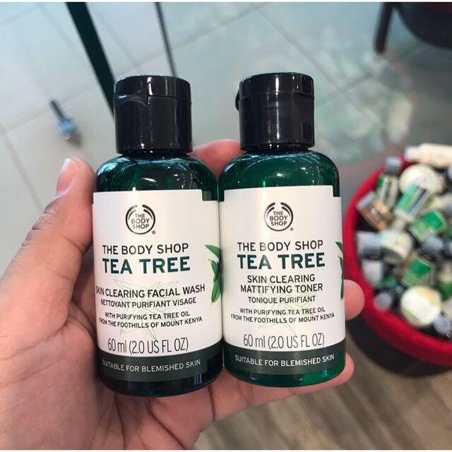 Tea tree toner and facial wash the body shop