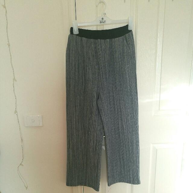 Wide Cut Trousers Size L Dark Blue