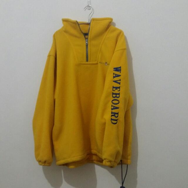 Yellow over-sized fleece jacket
