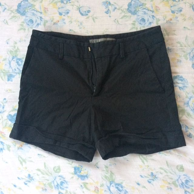 Zara Basics Black Khaki Shorts