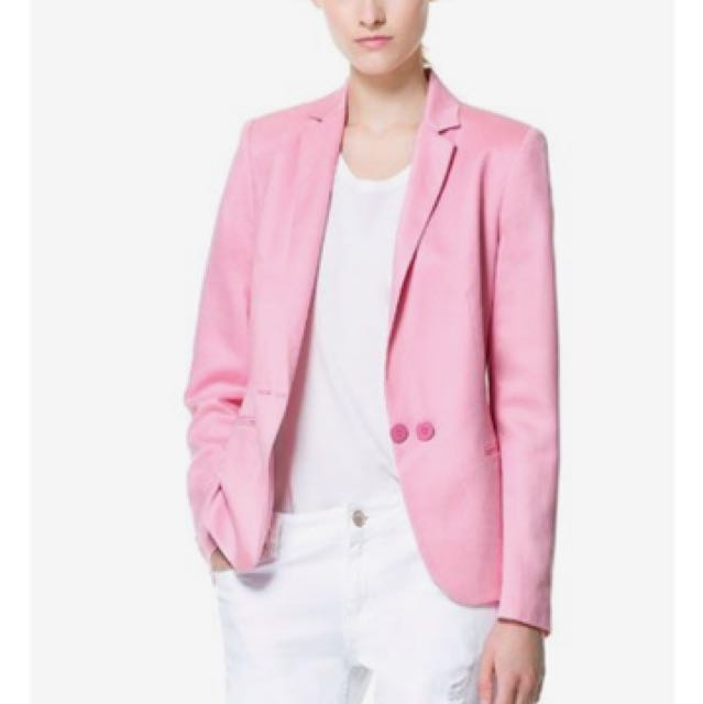 c222a406 ZARA Double Breasted Linen Blazer, Women's Fashion, Clothes ...