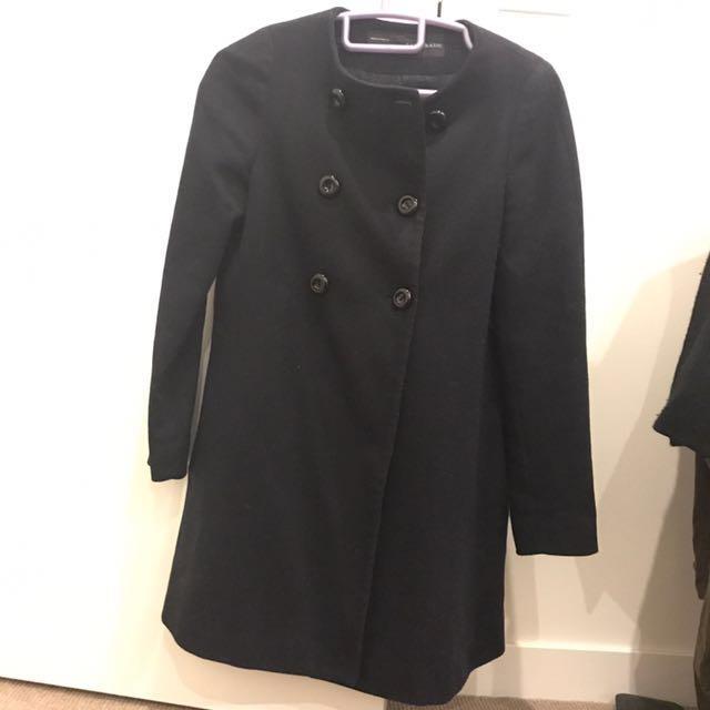 Zara Navy Trench Coat / Wool Jacket Size Xs