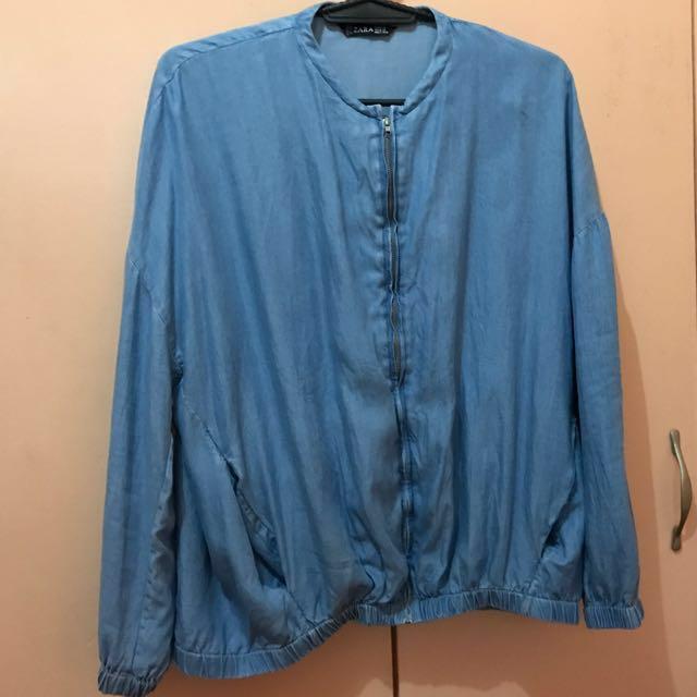 Zara Soft Denim Bomber Jacket XL