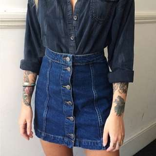 Topshop Moto Midwash Denim Skirt