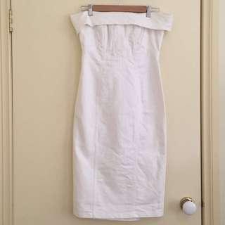 Bardot Bustier White Denim Tube Dress