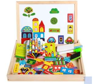 (E) Magnetic Puzzle Two-Sided Board Educational Wooden Toy