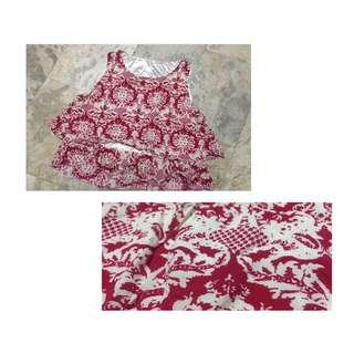 Red Printed Sleeveless