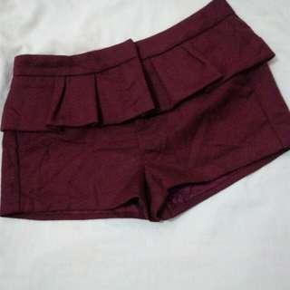 Ⓜ️ Repriced: Maroon Peplum Shorts