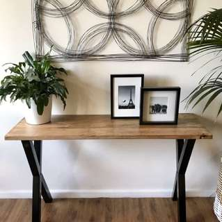 Hardwood timber and metal console table (Brand New)