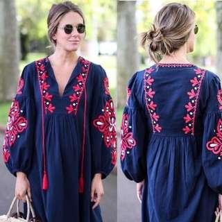 Zara Navy Embroidered Dress