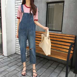 S M L denim overall jumpsuit