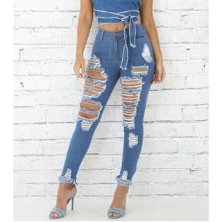 Denim High Waist Pants