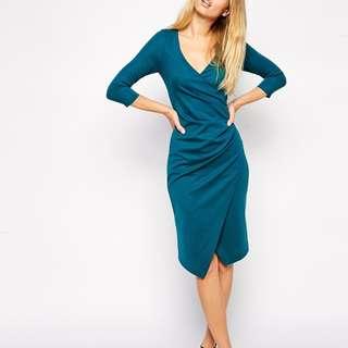 ASOS Wrap Long Sleeve Ponte Midi Dress