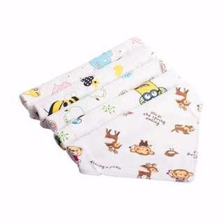 🚚 嬰兒純棉口水巾(五入)