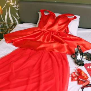 2 way Red Off Shoulder Gown