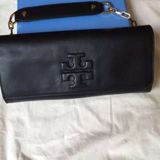 Tory Burch Embossed Leather Clutch 100% Authentic