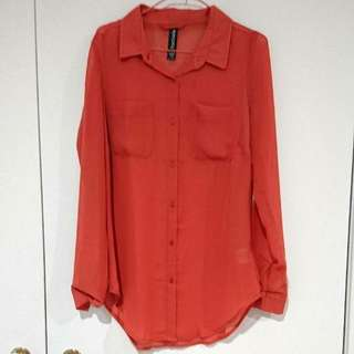See Thru Orange Long Sleeve Shirt