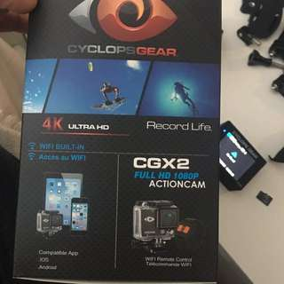 Go Pro (cyclopsgear Action Cam Cgx2) Free Accessories! Camera