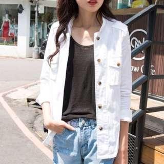韓國帥氣拉鍊立領彈性合版外套
