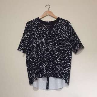 Country Road - Navy Blue Patterned Top