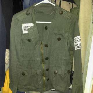 Vintage Army Green Light Jacket