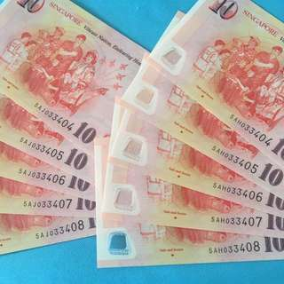 SG50 $10 With Identical number 5 Run ( 2 sets)