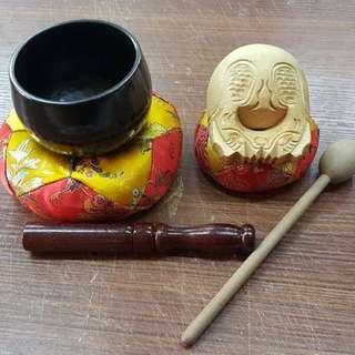 """銅磬 3.5"""" (包棉座)+ 3"""" 木魚 (包棉座) Singing Bowl 聲音砵"""