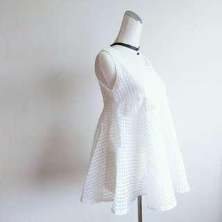 白色小格紋紗質娃娃衫背心上衣 娃娃裝