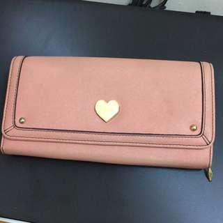 Saime 粉紅色皮夾 十字紋 防刮 長夾 皮夾 手機包 手機皮夾 皮包 二手 出清 特價