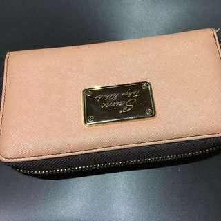 Saime Saime 粉紅色皮夾 十字紋 防刮 長夾 皮夾 手機包 手機皮夾 皮包 二手 出清 特價
