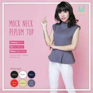Mock Neck Peplum Top Black