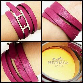 (Reduced price)Hermes Hapi 3 Leather Bracelet with SHW