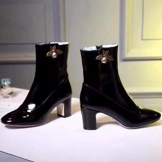 Gucci Lois Patent Leather Block Heel Booties