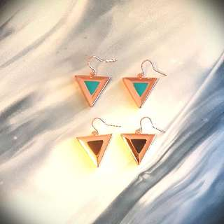Ladies Drop Triangle Rose Gold Earrings
