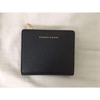 CHARLES & KEITH 小ck 皮夾 方夾 防刮 黑面香檳金 新加坡直購