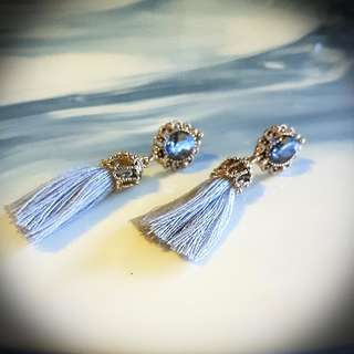 Ladies Gold & Grey Tassel With Stone Earrings