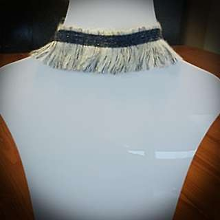 Ladies Tassel Denim Look Choker