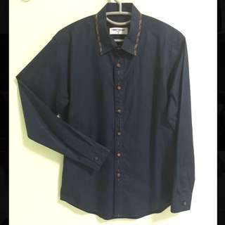 Twenty Second Navy Blue w Checkered Design Shirt